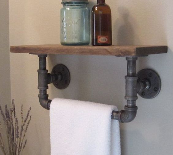 galvanised pipe shelf