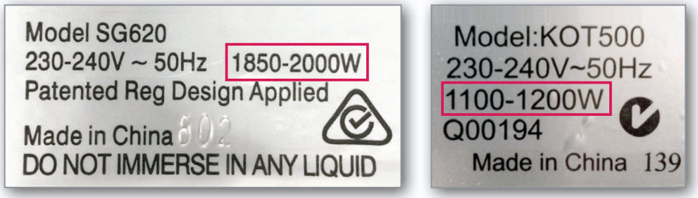 power rating label