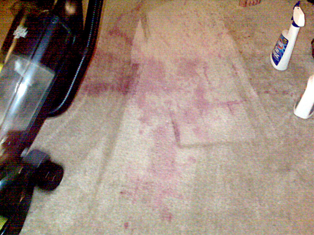red wine on carpet