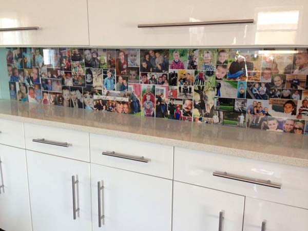 family photo display backsplash
