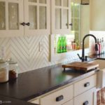 herringbone beadboard backsplash