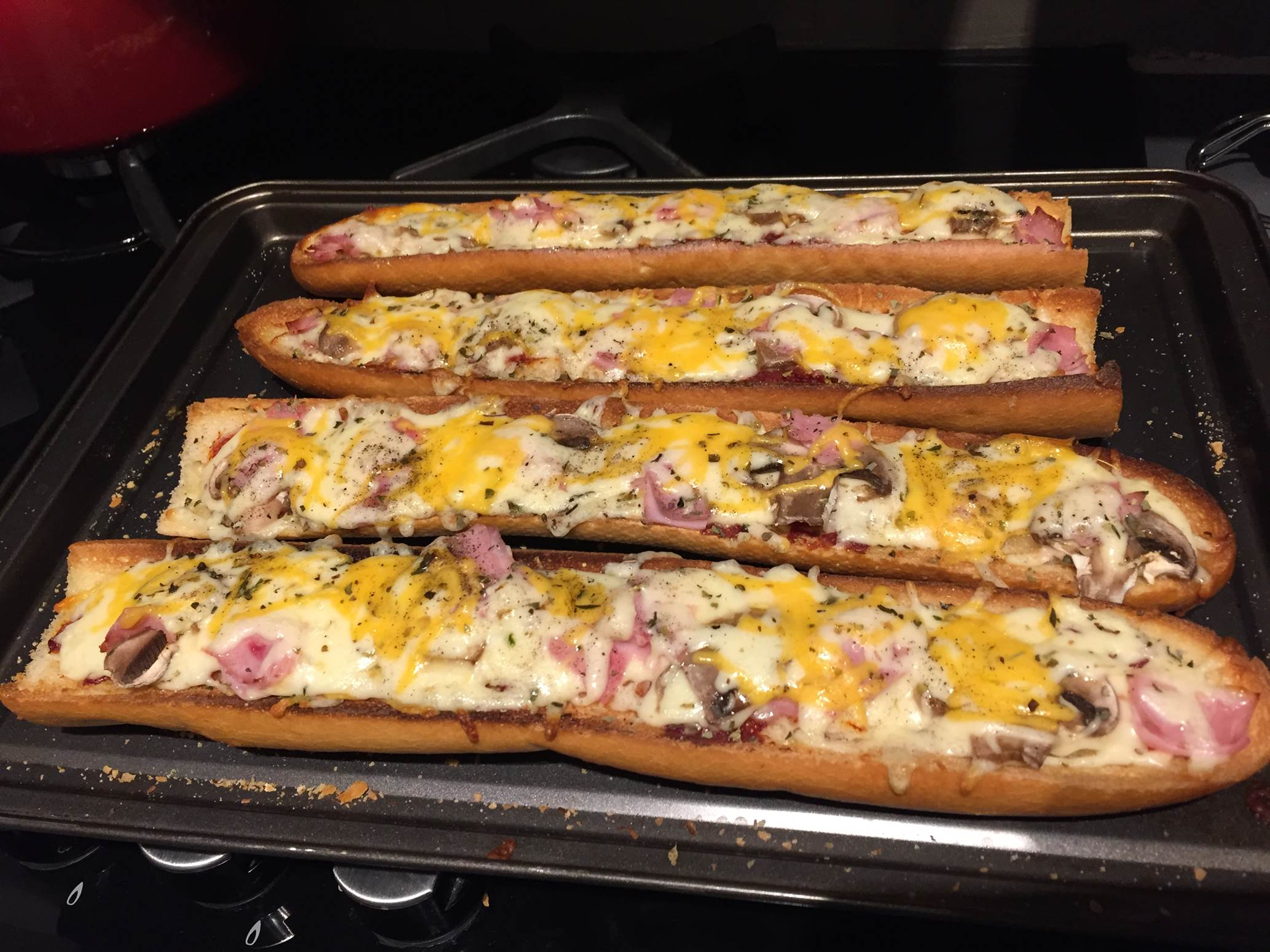french bread pizza baked