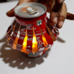 place the led inside the lantern