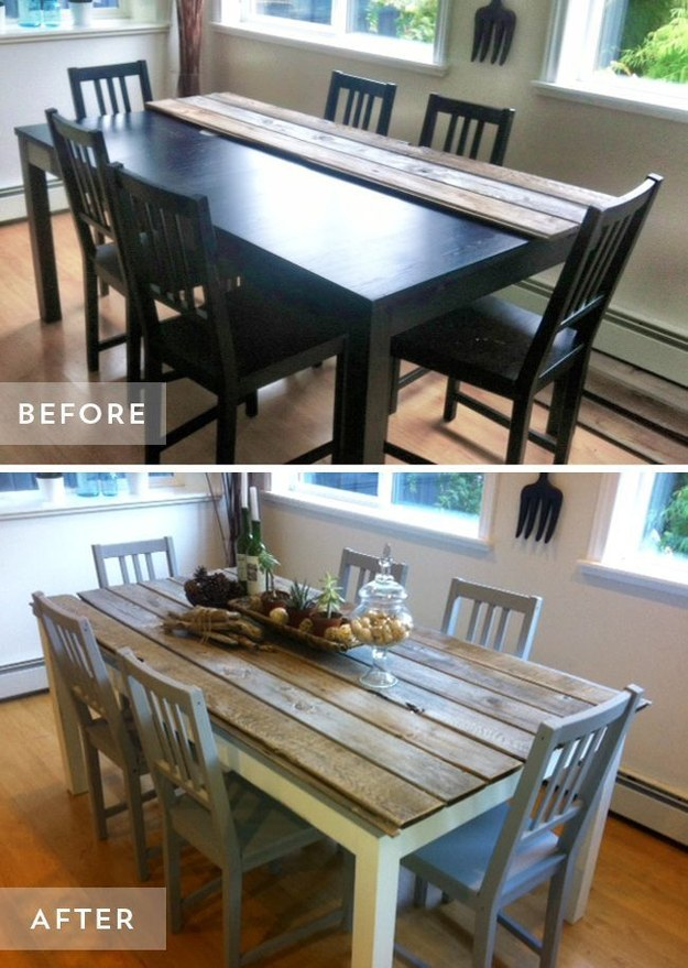 update your dining room table with some wood planks