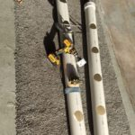 cut the pvc pipe to length and drill holes in them