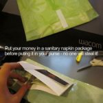 money in a sanitary bag