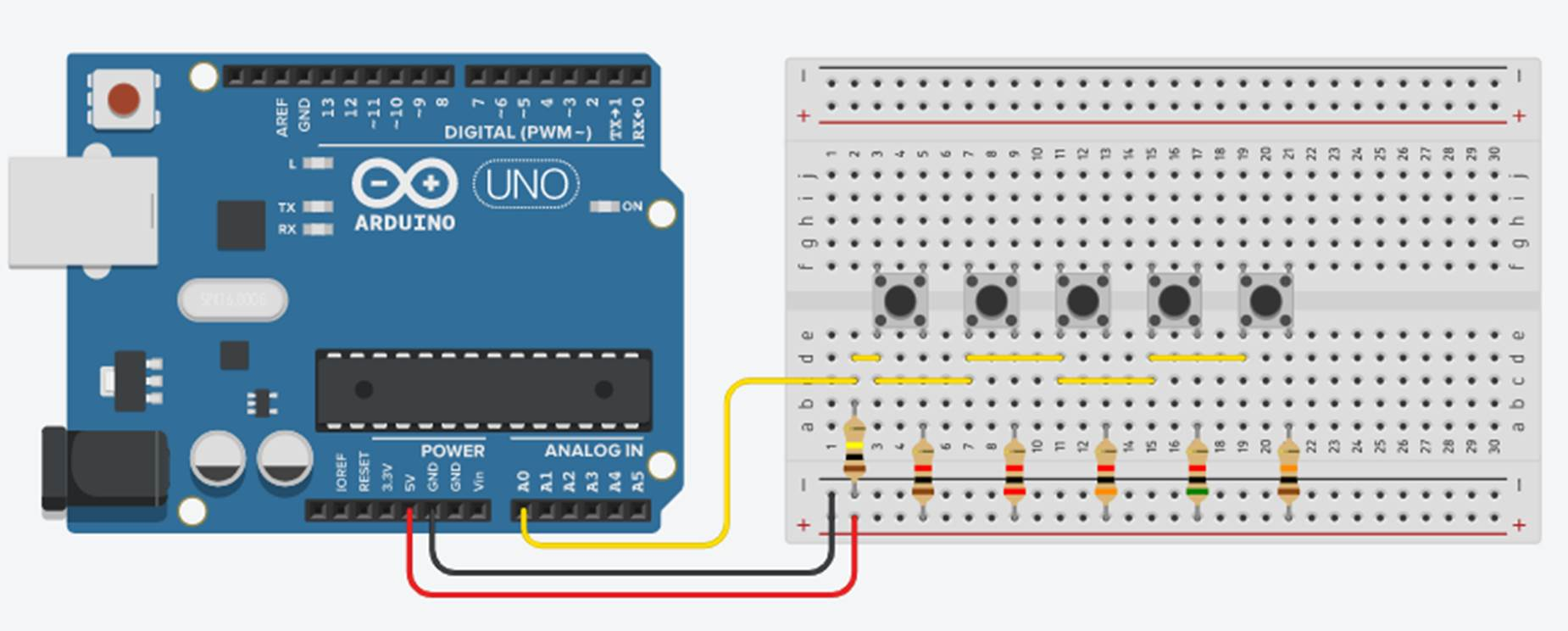 Multiple Push Buttons On A Single Arduino Analog Input
