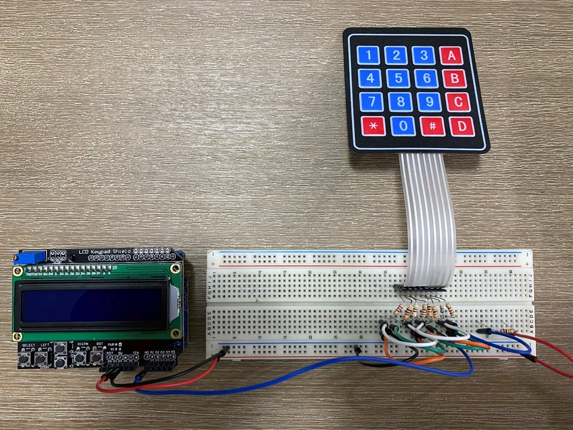 Keypad Breadboard Connections For One Arduino Input