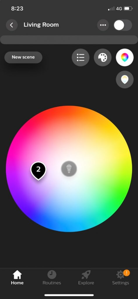 Philips Hue App Colour Pallet