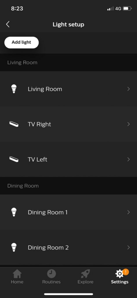 Philips Hue App Light Setup