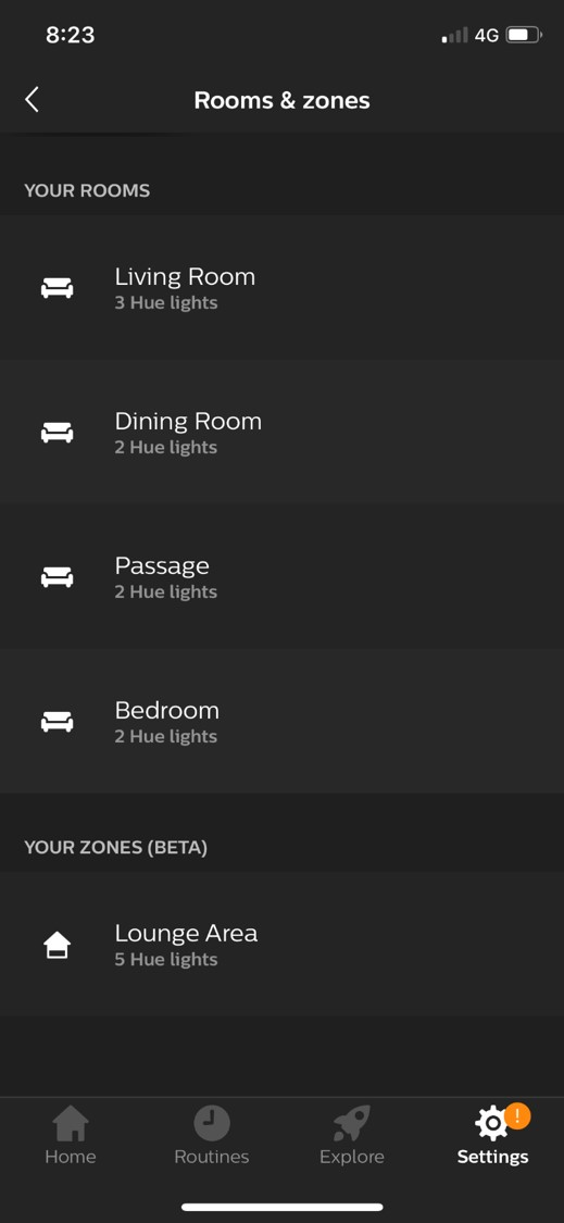 Philips Hue App Rooms and Zones