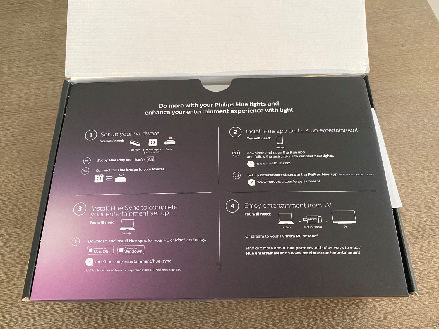 Philips Hue Play Light Bars Lid Open