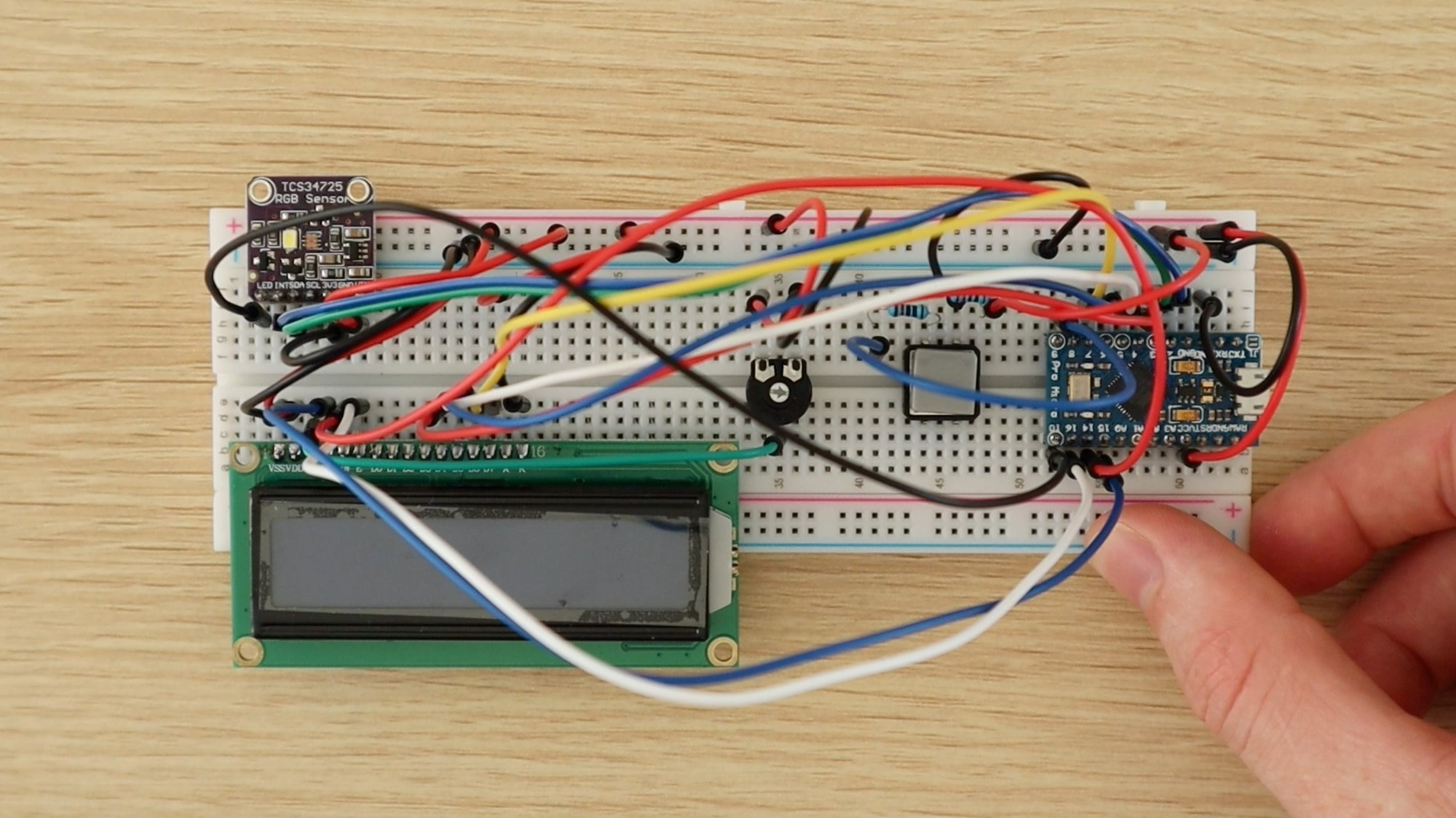 Fully Assembled Colour Picker On Breadboard