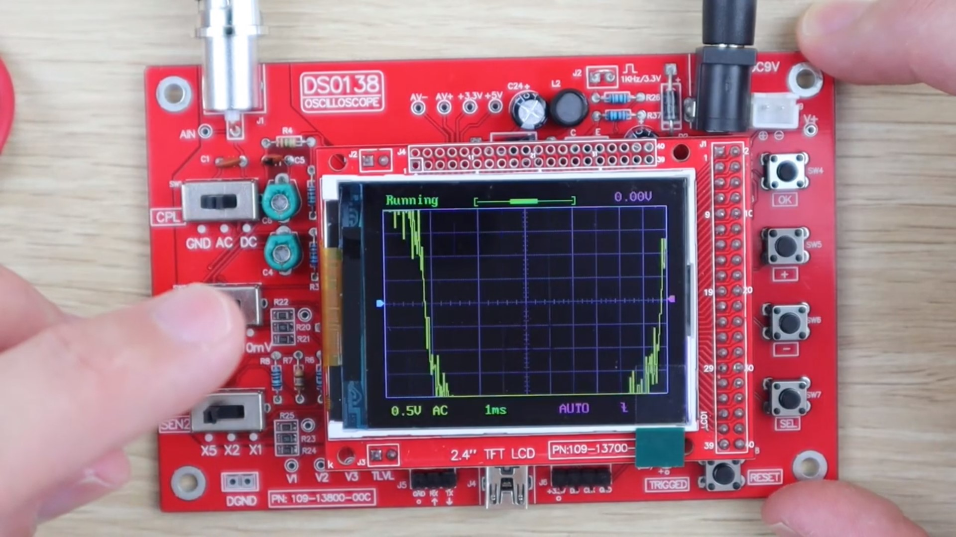 Oscilloscope Trace When Touching Test Lead