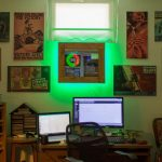 Raspberry Pi Productivity Tracker On Wall, Green Ambient