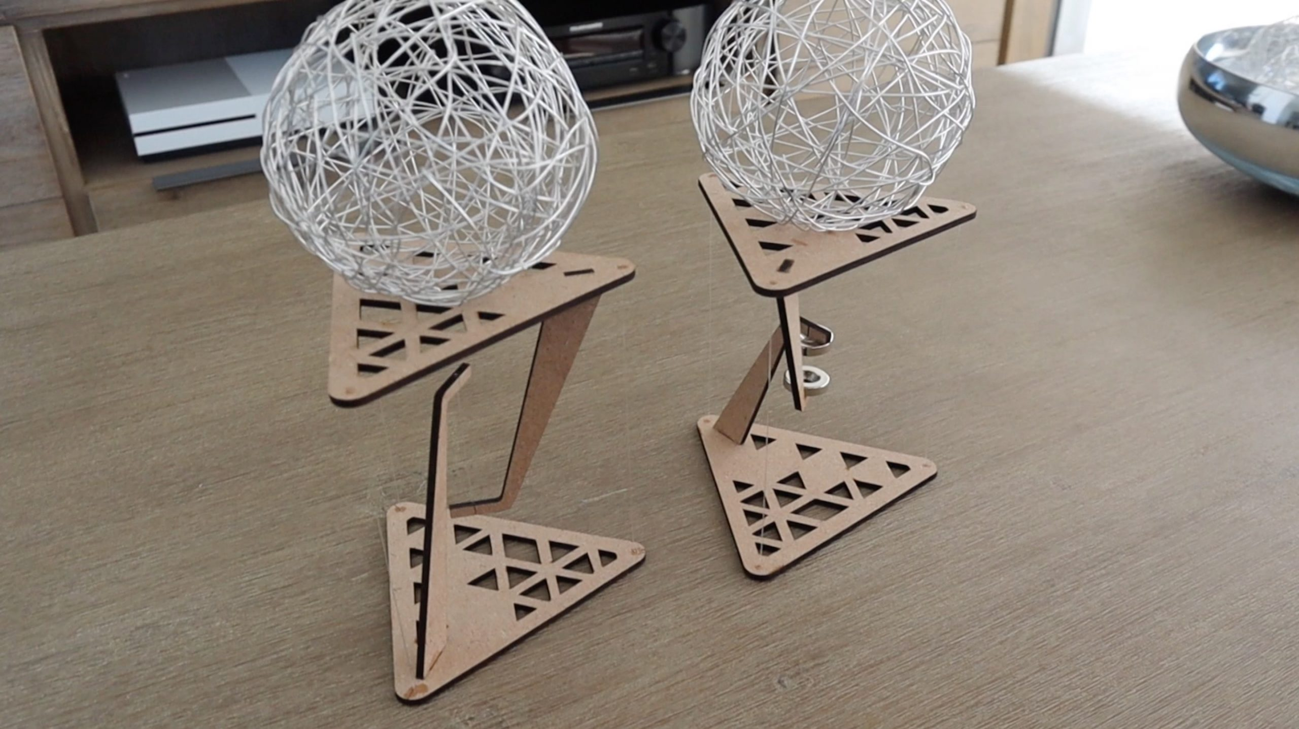 Both Tensegrity Tables Supprting Weight