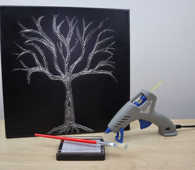 Easy Hot Glue Tree Canvas