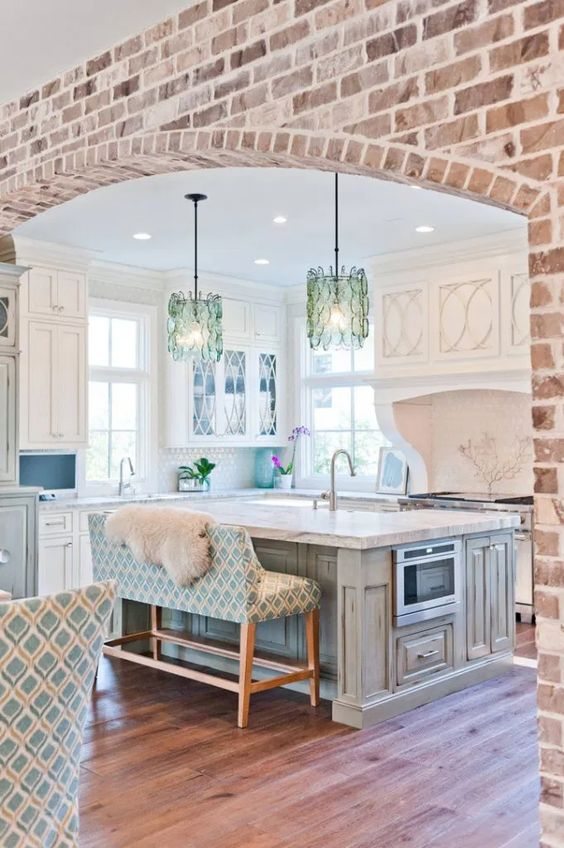 Exposed Brick Archway Over Kitchen