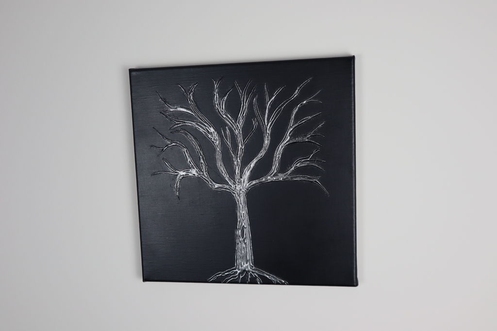 Hot Glue Tree Canvas Completed