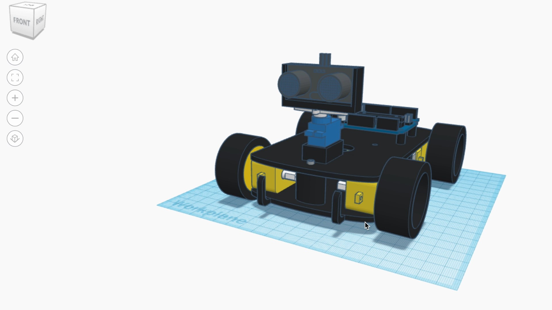 Tinkercad Model of Obstacle Avoiding Car