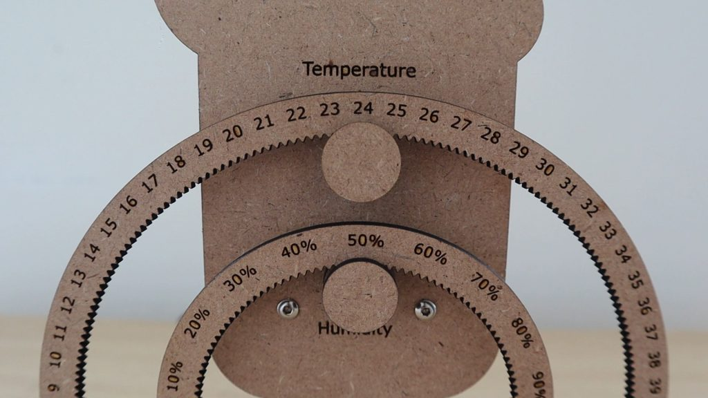 Temperature And Humdity Shown On Two Gears