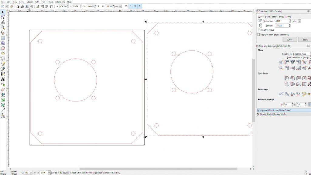 Drawing The Acrylic Sides In Inkscape