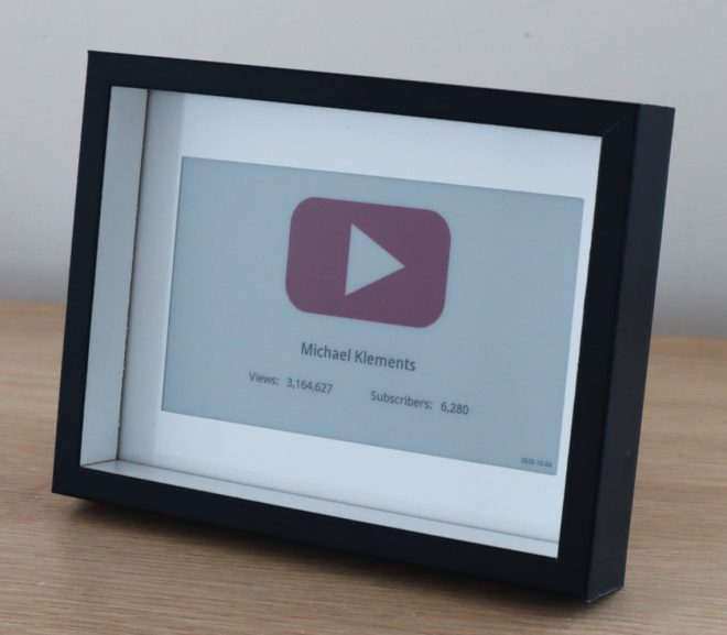 YouTube Subscriber Counter Using An E-Ink Display And A Raspberry Pi Zero W