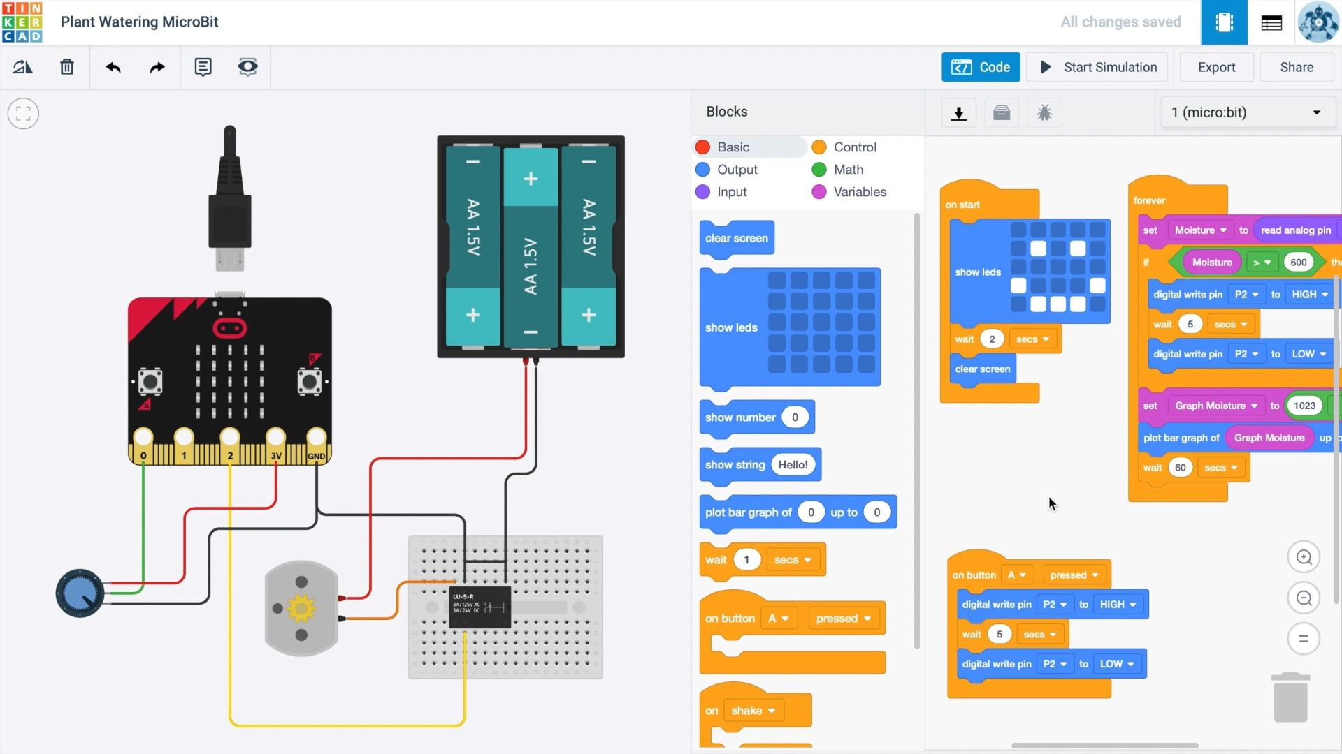 I Designed The Circuit and Code In TinkerCAD