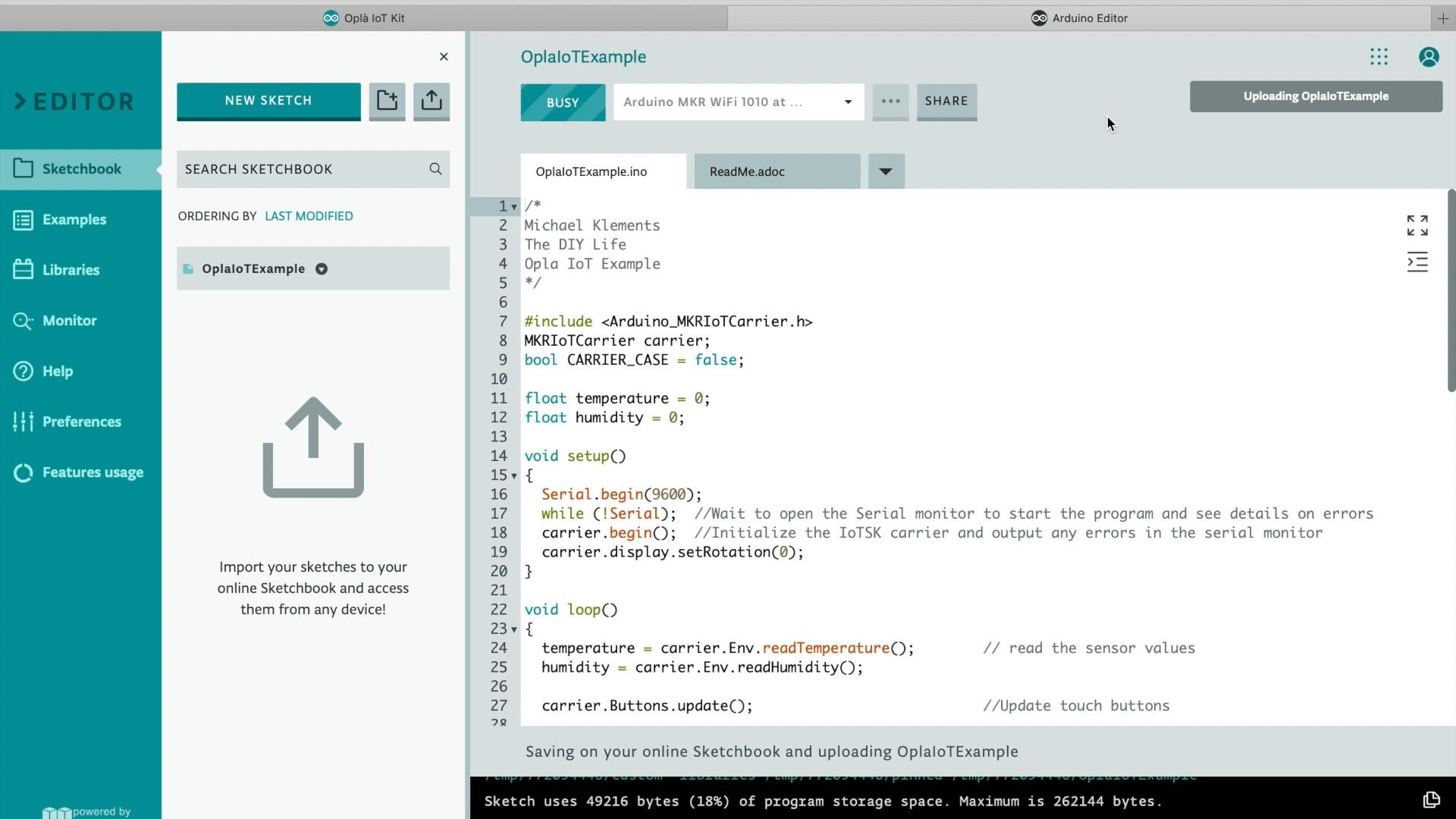 Uploading The Example Sketch To The Arduino