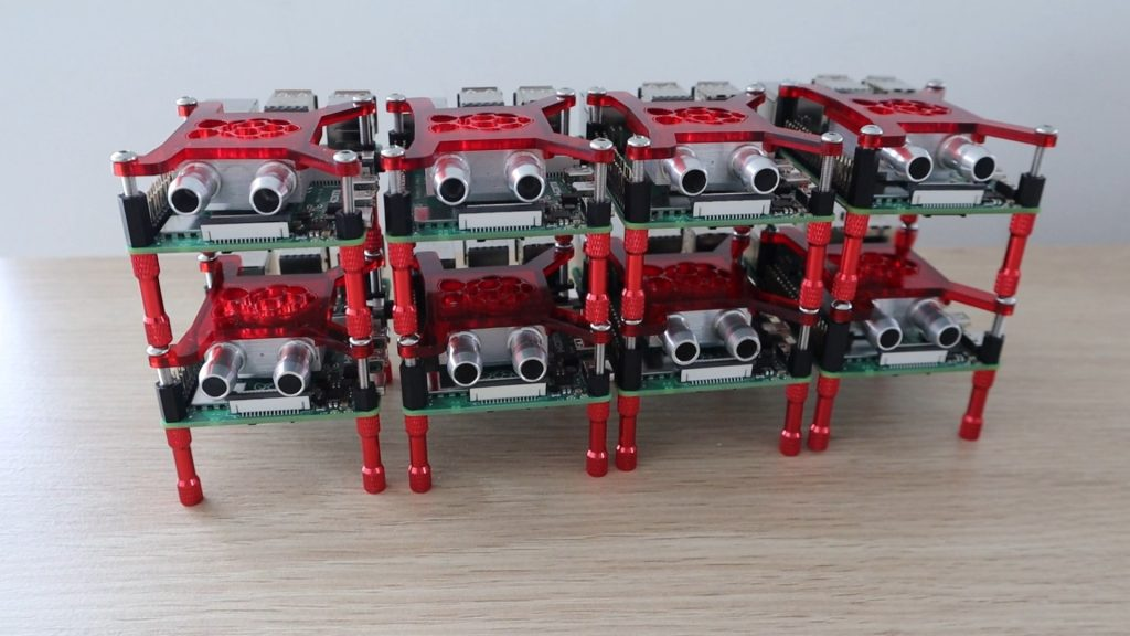 All 8 Raspberry Pi's Prepared With Cooling Blocks
