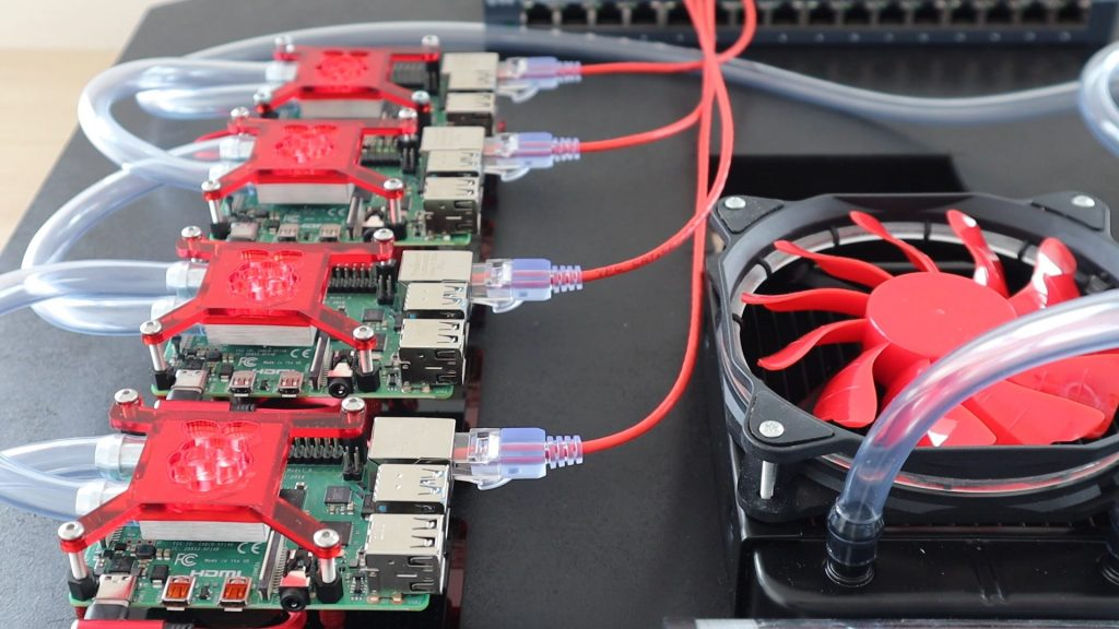 Plugging In Network Cables on the Raspberry Pi 4 Cluster