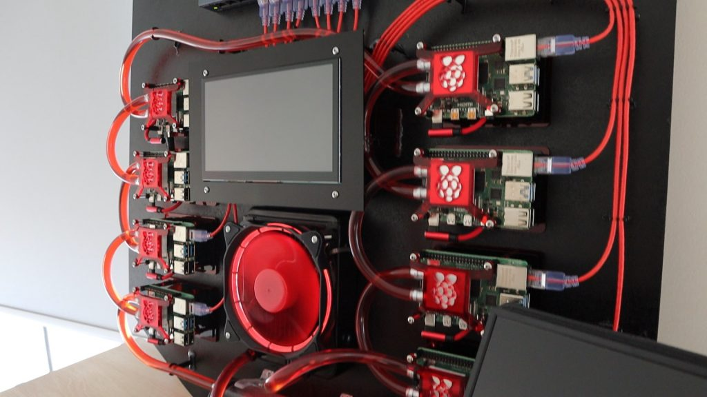 Water Cooled Raspberry Pi Cluster Being Tested