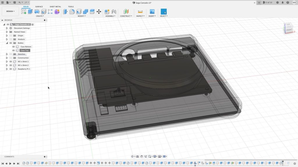 Fusion 360 Top Clear To See Pi